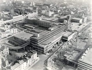 Aerial Shot of Brighton Town Centre, 1967.  Aerial view of Churchill Square whilst under construction in 1967. | Image reproduced with kind permission from Brighton and Hove in Pictures by Brighton and Hove City Council