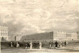 Brunswick Square: Engraving of Brunswick Square circa 1800. | Image reproduced with kind permission from Brighton and Hove in Pictures by Brighton and Hove City Council