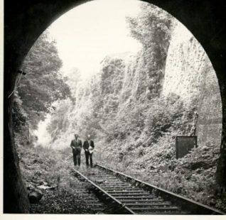 Kemp Town Railway, c. 1950s: Two men inspecting the disused Kemp Town Railway line. | Image reproduced with kind permission from Brighton and Hove in Pictures by Brighton and Hove City Council