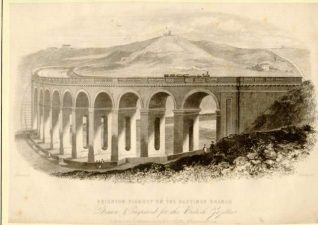 Brighton Railway Viaduct, c. 1850: Engraving of old steam train crossing Brighton Railway Viaduct.   Image reproduced with kind permission from Brighton and Hove in Pictures by Brighton and Hove City Council