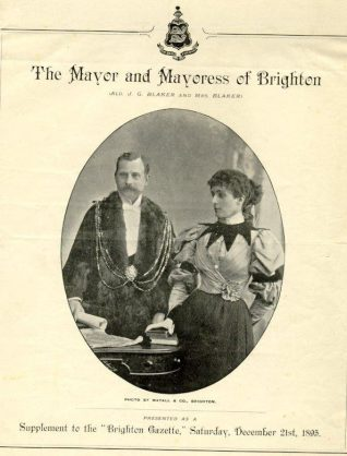 Mayor and Mayoress of Brighton, 1895: Alderman J.G. Blaker and his wife when Mayor and Mayoress. Cover page of a supplement to Brighton Gazette 21st December 1895. | Image reproduced with kind permission from Brighton and Hove in Pictures by Brighton and Hove City Council