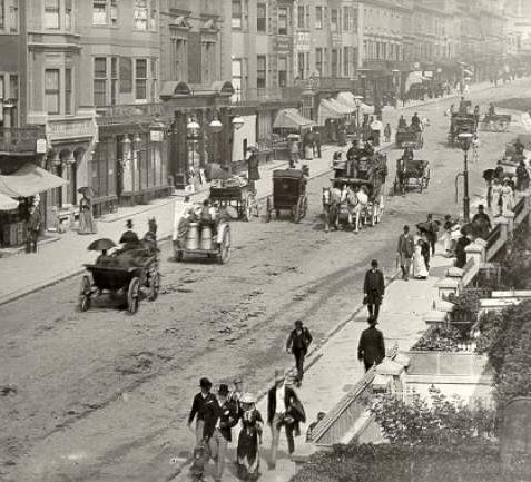 Horse Traffic in Queen's Road, 1895: A busy scene in Queen's Road, looking North, with horse traffic and pedestrians | Image reproduced with kind permission from Brighton and Hove in Pictures by Brighton and Hove City Council