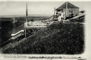 Devil's Dyke Aerial Cableway, c. 1900: Aerial Cableway over Devil's Dyke which operated c. 1894 - 1909. | Image reproduced with kind permission from Brighton and Hove in Pictures by Brighton and Hove City Council