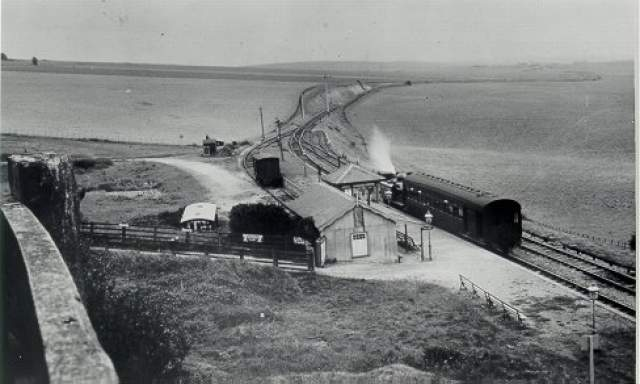 Dyke Railway Station, c. 1920s: Train at Dyke Railway Station. | Image reproduced with kind permission from Brighton and Hove in Pictures by Brighton and Hove City Council