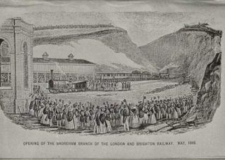 Opening of the London to Brighton Railway, 1840: Crowd of spectators witnessing the opening of the Shoreham branch of the London and Brighton Railway, Brighton's first railway line.   Image reproduced with kind permission from Brighton and Hove in Pictures by Brighton and Hove City Council