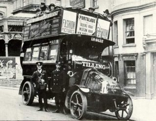 Thomas Tilling Bus, c. 1914: Open topped double decker Tilling bus with driver, conductor and passengers parked near Brighton Station. | Image reproduced with kind permission from Brighton and Hove in Pictures by Brighton and Hove City Council