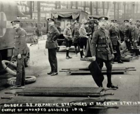 Brighton Station, 1918; a group of soldiers and scouts preparing stretchers in preparation for the arrival of wounded soldiers from the Western Front. | Image reproduced with kind permission from Brighton and Hove in Pictures by Brighton and Hove City Council