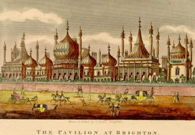 The Pavilion at Brighton, c. 1820: Horse traffic and pedestrians outside the Royal Pavilion. | Image reproduced with kind permission from Brighton and Hove in Pictures by Brighton and Hove City Council
