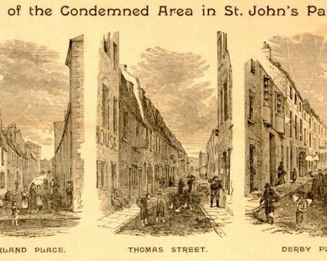 Condemned Areas in St. John's Parish, c. 1890 Engraving showing parts of the condemned area in St. John's Parish in the 1890's. Depiction includes scenes from the daily lives of the people who lived in what were known as slum areas. | Image reproduced with kind permission from Brighton and Hove in Pictures by Brighton and Hove City Council