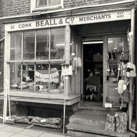 Beall and Co. Cork Merchants, 1983: Beall and Co. cork shop in Gardner Street during its centenary in 1983. It has since been taken down and reconstructed in Brighton Museum. Photograph Copyright Evening Argus. | Image reproduced with kind permission from Brighton and Hove in Pictures by Brighton and Hove City Council