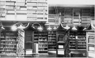 Brighton Lending Library, c. 1905: Interior of Brighton Lending Library in 1905, showing the balcony, lighting and bookcases. | Image reproduced with kind permission from Brighton and Hove in Pictures by Brighton and Hove City Council