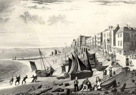 Seafront at East Cliff, 1827: Early aquatint of Brighton seafront showing fishing boats, fishermen and seafront facades. | Image reproduced with kind permission from Brighton and Hove in Pictures by Brighton and Hove City Council