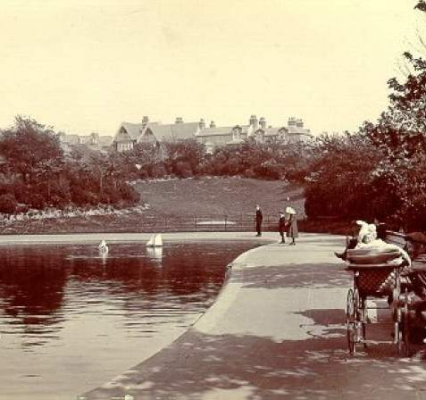 Queen's Park, Date unknown: View of the pond in Queen's Park. | Image reproduced with kind permission from Brighton and Hove in Pictures by Brighton and Hove City Council
