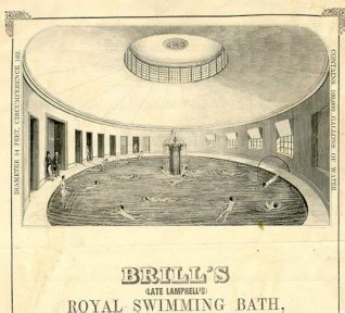 Brill's Baths, c1869. Swimmers relaxing in the gentlemen's circular swimming bath. Charles Brill inherited the original baths from a Mr. Lamprell, his uncle, in the 1840's. At one time the sea-water was brought from Hove to Brighton as Brighton's coast was thought to be too polluted. The baths were demolished in 1929. | Image reproduced with kind permission from Brighton and Hove in Pictures by Brighton and Hove City Council