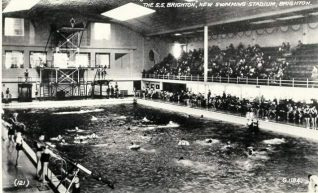 Photograph of the S.S. Brighton swimming stadium in West Street in 1934 before its conversion to an ice-rink. It was opened by Earl Howe and one of the first people to dive from the high board was Johnnie Weismuller of
