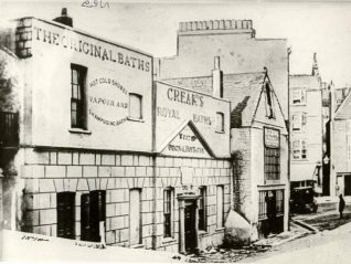 Creak's Royal Baths, 1860, Creak's Royal Baths - formerly Awsiter's, Baths - awaiting demolition in 1860 before rebuilding as part of Brill's Baths. | Image reproduced with kind permission from Brighton and Hove in Pictures by Brighton and Hove City Council