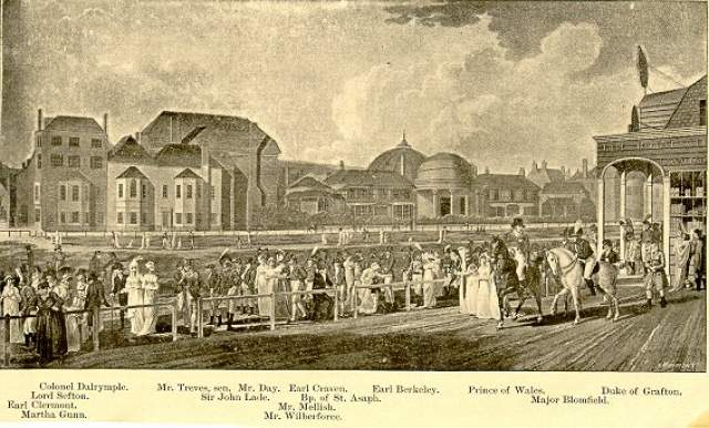 Brighton Race Course, 1805: Painting showing the race course on the Steine with the original Royal Pavilion in the background. Featured in the picture are important local people of the time, including George, Prince of Wales, on horse back. | Image reproduced with kind permission from Brighton and Hove in Pictures by Brighton and Hove City Council