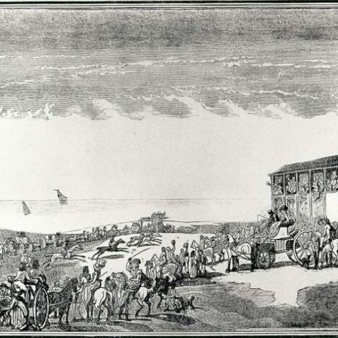 Brighton Race Course and Stand, 1790: Engraving of Brighton Race Course and stand in 1790, with race in progress and spectators. | Image reproduced with kind permission from Brighton and Hove in Pictures by Brighton and Hove City Council