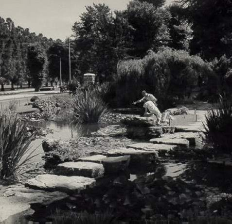 Preston Park Rock Garden, c. 1950: View of Preston Park rock garden with a couple enjoying their surroundings. | Image reproduced with kind permission from Brighton and Hove in Pictures by Brighton and Hove City Council
