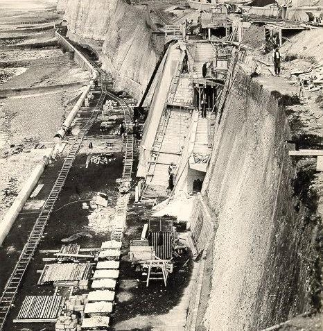 Undercliff Walk and Sea Defences at Ovingdean Gap, c. 1932: to protect the cliffs east of Black Rock it used 13,000 tons of cement, 150,000 concrete blocks and 500 workers. | Image reproduced with kind permission from Brighton and Hove in Pictures by Brighton and Hove City Council