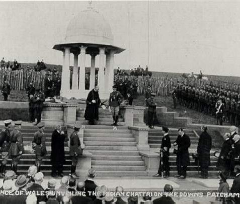 Unveiling of the Chattri, 1921: Unveiling of the Chattri by the Prince Of Wales (later Edward VIII) at Patcham on 1st February 1921. Indian War memorial designed by E.C. Henriques under the supervision of Sir Samuel Jacob. Monument commemorated Hindus and Sikhs who died in the Indian Military Hospital at the Royal Pavilion during the First World War. | Image reproduced with kind permission from Brighton and Hove in Pictures by Brighton and Hove City Council
