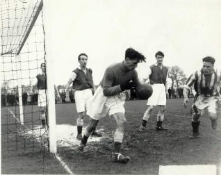 Goal mouth action of Whitehawk Football Club in semi-final of Sussex Senior Cup in 1951. | Image reproduced with kind permission from Brighton and Hove in Pictures by Brighton and Hove City Council