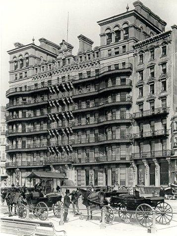 Grand Hotel, c. 1880: Grand Hotel with horse-drawn carriages and road sweeper. | Image reproduced with kind permission from Brighton and Hove in Pictures by Brighton and Hove City Council