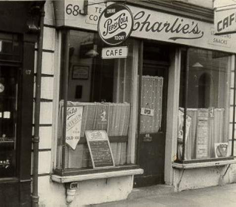 Charlie's Cafe, c. 1950: Exterior of Charlie's Cafe, at the corner of 68 St. James' Street and Atlingworth Street. | Image reproduced with kind permission from Brighton and Hove in Pictures by Brighton and Hove City Council