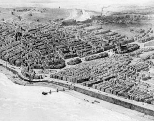 Aerial Depiction of Brighton, c. 1850. Artist's mind's-eye view of what Brighton would look like from the air in the 1850's. | Image reproduced with kind permission from Brighton and Hove in Pictures by Brighton and Hove City Council