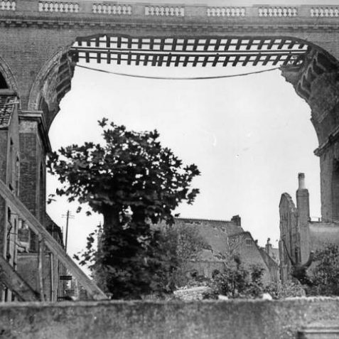 A span of Preston Road Viaduct destroyed in one of Brighton's worst air raids on 25th May 1943. | Image reproduced with kind permission from Brighton and Hove in Pictures by Brighton and Hove City Council