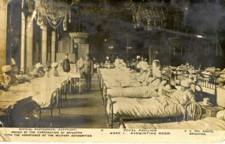Indian Hospital - Banqueting Room of the Royal Pavilion, c. 1915: Royal Pavilion Banqueting room used as a military hospital and filled with patients during the first world war. | Image reproduced with kind permission from Brighton and Hove in Pictures by Brighton and Hove City Council
