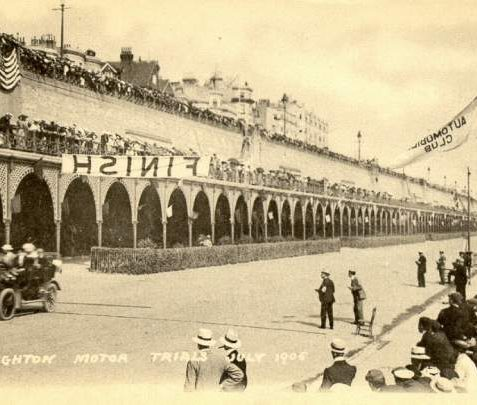 Brighton Motor Trials, c. 1905: Postcard showing the 1905 Motor Trials at Madeira drive with the colonnade of arches in the background | Image reproduced with kind permission from Brighton and Hove in Pictures by Brighton and Hove City Council