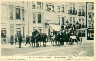 Coach outside the Old Ship Hotel, c1904. A corn market was held here from the beginning of the nineteenth century until 1822. | Image reproduced with kind permission from Brighton and Hove in Pictures by Brighton and Hove City Council