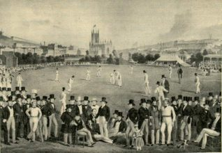 Drawing of a cricket match with spectators in foreground and St. Peter's Church in the background | Image reproduced with kind permission from Brighton and Hove in Pictures by Brighton and Hove City Council