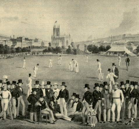 Drawing of a cricket match with spectators in foreground and St. Peter's Church in the background   Image reproduced with kind permission from Brighton and Hove in Pictures by Brighton and Hove City Council