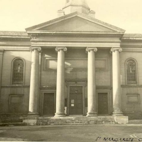 St. Margaret's Chapel, c. 1940s: St. Margaret's Chapel was designed by Charles Busby for Barnard Gregory the editor of the Brighton Gazette who named it after his wife Margaret. The Chapel opened on 26 Dec. 1824. During the 1800s the Chapel proved popular with fashionable society but attendances dwindled and the last service took place on 30th Sept. 1956. The Chapel was demolished in June 1959 to make way for the Metropole exhibition halls, Sussex Heights and a 250 space car park.   Image reproduced with kind permission from Brighton and Hove in Pictures by Brighton and Hove City Council