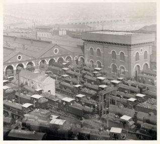 Brighton Railway Yard and Locomotive sheds, c. 1905: Brighton Railway Yard and locomotive sheds crowded with locomotives coaled up and ready to work. The London Road Railway Viaduct can be seen in the distance.   Image reproduced with kind permission from Brighton and Hove in Pictures by Brighton and Hove City Council