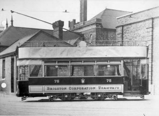 Brighton Corporation Tram No. 75 at the Lewes Road Tram Depot, c. 1905 | Image reproduced with kind permission from Brighton and Hove in Pictures by Brighton and Hove City Council