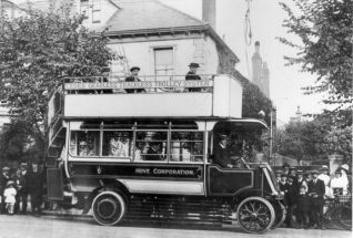 Hove Corporation Open-top Omnibus, 1914: A Hove Corporation open-top Omnibus using the Cedes Gearless Trackless Trolley System. This early trolley-bus was on trial by Hove Corporation in August 1914, and ran from Goldstone Villas, along Blatchington Road and George Street to Church Road. However, plans to develop a trolley-bus network were halted by the First World War and not resumed until 1935. | Image reproduced with kind permission from Brighton and Hove in Pictures by Brighton and Hove City Council