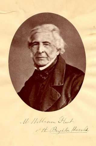 Mr William Fleet of the Brighton Herald, c. 1860s: William Fleet was proprietor of the Brighton Herald from 1810 until he retired in 1864. First published in September 1806, the Brighton Herald was the first newspaper to be established in Brighton. After 8621 weekly issues it closed on 30 September 1971. | Image reproduced with kind permission from Brighton and Hove in Pictures by Brighton and Hove City Council