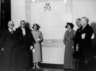 Re-opening of the Dome in September 1935, 14 September 1935: The Mayor of Brighton, Sidney Gibson, and other dignitaries after unveiling a plaque to commemorate the re-opening of the Dome on 14 September 1935. | Image reproduced with kind permission from Brighton and Hove in Pictures by Brighton and Hove City Council