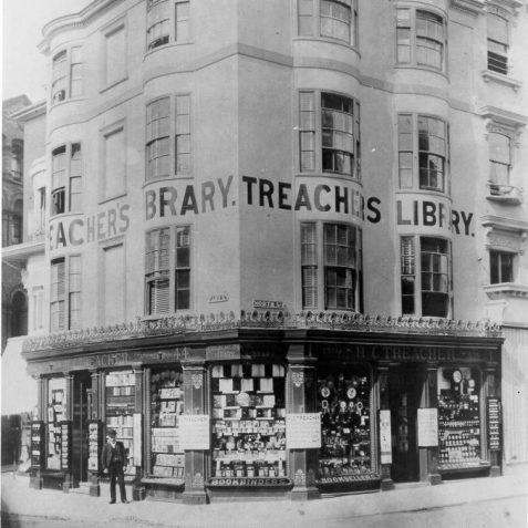 Treacher's Library, Bookshop and Stationers, 1890s: H.C. Treacher's bookshop, library and stationers on the corner of East Street and North Street. In 1924 this building was rebuilt and is now occupied by part of Hanningtons department store. | Image reproduced with kind permission from Brighton and Hove in Pictures by Brighton and Hove City Council