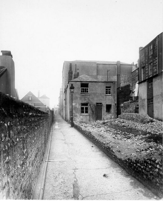 Dorset Buildings, (North of Edward Street - A sign names an empty cottage 'Sea View' | Reproduced courtesy of Royal Pavilion, Libraries & Museums, Brighton & Hove