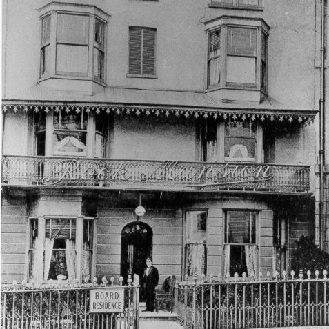 Rock Mansion, c. 1905: This postcard advertised a boarding house run by a Mrs Crockford on Lower Rock Gardens. This street was built as Rock Buildings in the 1790s, but when a communal garden was added, the name changed to reflect this.   Image reproduced with kind permission from Brighton and Hove in Pictures by Brighton and Hove City Council