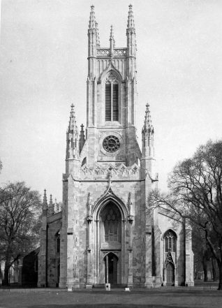 St. Peter's Church, c. 1930: St. Peter's Church was built in 1824-28 as a chapel of ease to the parish church of St. Nicholas and was consecrated by Dr James Carr on 8 May 1828. Designed in the Perpendicular and Decorated styles by Charles Barry (later to design the Houses of Parliament), the church is one of the earliest Gothic revival churches in the United Kingdom. On 22 June 1873 St Peter's replaced St Nicholas' as the parish church of Brighton. Constructed in Portland stone, the church measured 150 by 70 feet with a clerestoried nave of 5 bays with aisles, galleries, an apsidal chancery and a vaulted ceiling. In 1898-1902 the nave was extended northwards and a new chancel was added by George Somers Clarke. | Image reproduced with kind permission from Brighton and Hove in Pictures by Brighton and Hove City Council