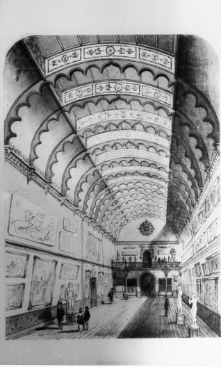 Design for Interior of Brighton Art Gallery, c. 1870: A design for the planned interior of Brighton Art Gallery by Philip Lockwood, Borough Surveyor. The gallery opened in 1873 in part of the former Royal stables, remodelled by Lockwood in 1869 for a public museum and library. The gallery as built has an altered roof design constructed in the form of a shallow barrel-vault. This gallery formerly housed the permanent collection, but currently displays a collection of Art Deco and Art Nouveau furniture and ornaments | Image reproduced with kind permission from Brighton and Hove in Pictures by Brighton and Hove City Council