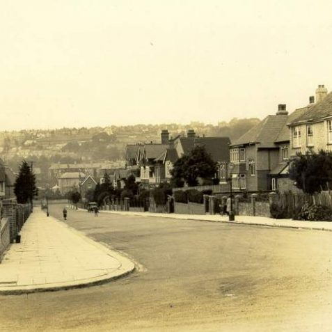 Preston Drove Looking West, c. 1920: Preston Drove once formed part of an ancient trackway across the parish from Lewes to Portslade. It is now lined with substantial red-brick housing. The area of Preston Drove east of Surrenden Road was developed between 1900-1904 | Image reproduced with kind permission from Brighton and Hove in Pictures by Brighton and Hove City Council