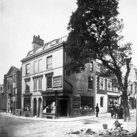 Corner of Middle Street and Duke Street, c. 1890: Corner of Middle Street and Duke Street, showing the shopfront of Phillips Tea Dealer,