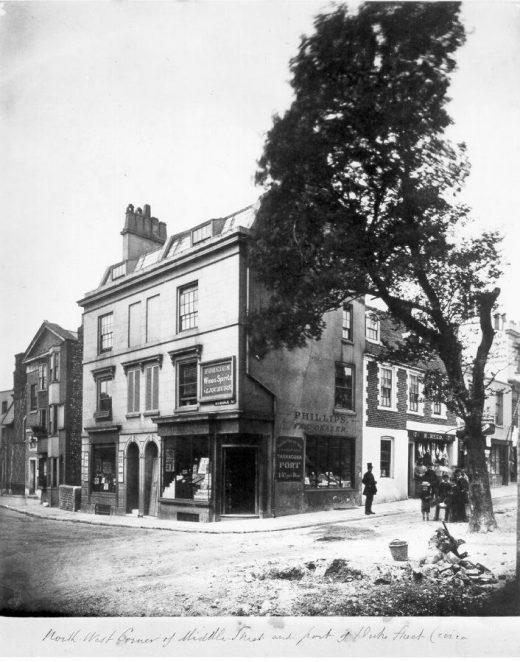 Corner of Middle Street and Duke Street, c. 1890: Corner of Middle Street and Duke Street, showing the shopfront of Phillips Tea Dealer,