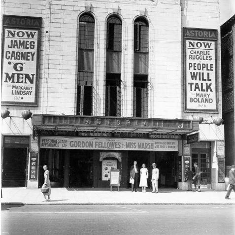 Astoria Cinema, Gloucester Place, c. 1935: Opened on 21 December 1933 by Sir Cooper Rawson M.P., the Astoria had a relatively simple interior including a stage, organ, tea-rooms and restaurant. It could seat 1823 people. A banner above the entrance proclaims the